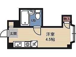 プレアール都島 5階ワンルームの間取り