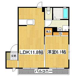 グリーンハイツK棟[2階]の間取り