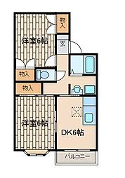サニーハイムA[1階]の間取り