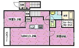 広島県広島市安佐南区東原2丁目の賃貸アパートの間取り