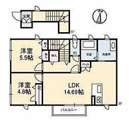 広島県福山市南松永町2丁目の賃貸アパートの間取り