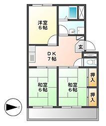 愛知県名古屋市港区小碓4丁目の賃貸アパートの間取り