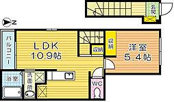 福岡県北九州市小倉北区今町2丁目の賃貸アパートの間取り