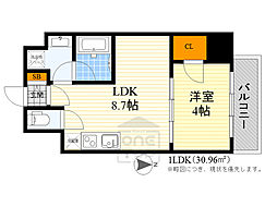 Osaka Metro御堂筋線 江坂駅 徒歩7分の賃貸マンション 7階1LDKの間取り