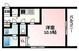 JR東海道・山陽本線 新大阪駅 徒歩15分の賃貸マンション 4階1Kの間取り