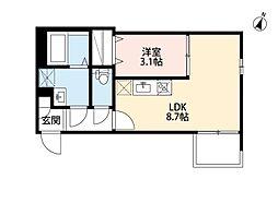近鉄名古屋線 烏森駅 徒歩5分の賃貸アパート 2階1LDKの間取り