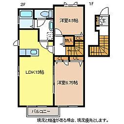 レジデンスB棟[2階]の間取り