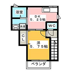 Casa東清 2階1DKの間取り