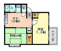 大阪府大阪市平野区長吉出戸6丁目の賃貸アパートの間取り