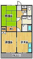 埼玉県越谷市蒲生旭町の賃貸アパートの間取り