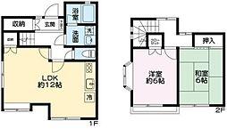 小田急小田原線 玉川学園前駅 徒歩17分の賃貸テラスハウス 1階2LDKの間取り
