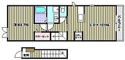 大阪府河内長野市錦町の賃貸アパートの間取り