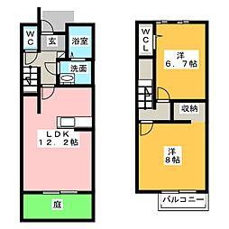[テラスハウス] 愛知県岩倉市中本町中北裏 の賃貸【愛知県 / 岩倉市】の間取り