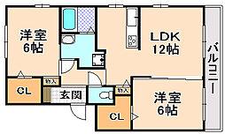 兵庫県伊丹市南野2丁目の賃貸アパートの間取り