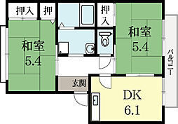 シャトヴェールA棟 2階2DKの間取り