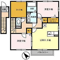 兵庫県姫路市飾東町佐良和の賃貸アパートの間取り