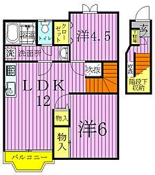 千葉県野田市桜台の賃貸アパートの間取り
