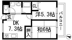 兵庫県伊丹市瑞穂町1丁目の賃貸マンションの間取り