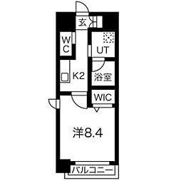 ビーロット桜山レジデンス 2階1Kの間取り