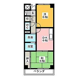 八幡山マンション[4階]の間取り