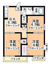 第2中平野ハウス[201号室]の間取り
