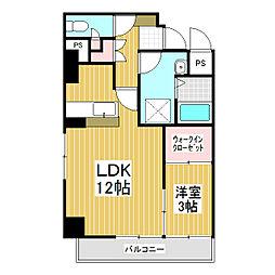 ラ・リジエール大門 5階1LDKの間取り
