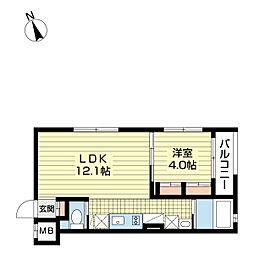 京急本線 雑色駅 徒歩2分の賃貸マンション 4階1LDKの間取り
