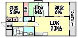 大阪府和泉市肥子町2丁目の賃貸マンションの間取り