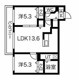 essence310c 2階1LDKの間取り