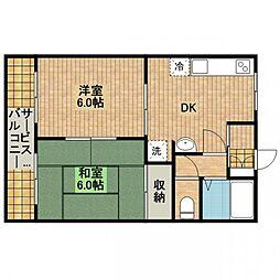 コーポ大ヶ谷戸[3-B号室]の間取り