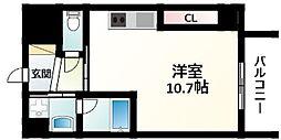 JR東海道・山陽本線 新大阪駅 徒歩10分の賃貸マンション 8階ワンルームの間取り