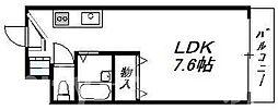 南海汐見橋線 岸里玉出駅 徒歩6分の賃貸マンション 2階ワンルームの間取り