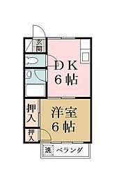 埼玉県草加市手代町の賃貸アパートの間取り