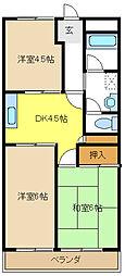 愛知県名古屋市緑区鳴子町2丁目の賃貸アパートの間取り