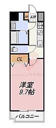 Osaka Metro御堂筋線 なかもず駅 徒歩3分の賃貸マンション 2階1Kの間取り