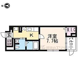 阪急京都本線 長岡天神駅 徒歩9分の賃貸マンション 1階1Kの間取り