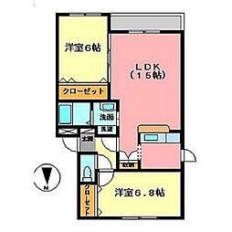 ファインルミナスCOCO[1階]の間取り
