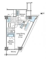 都営大江戸線 東新宿駅 徒歩2分の賃貸マンション 11階2LDKの間取り