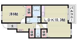 JR播但線 福崎駅 徒歩17分の賃貸アパート 1階1LDKの間取り