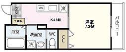 PLEIN SOLEIL 桜尾 1階1Kの間取り