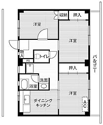 ビレッジハウス四郎丸4号棟4階Fの間取り画像