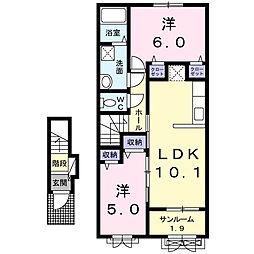 新潟県新潟市西区大野町の賃貸アパートの間取り