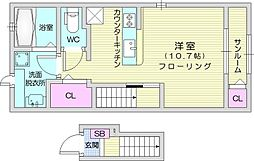 JR東北本線 名取駅 徒歩6分の賃貸アパート 2階1Kの間取り