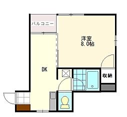JR山形新幹線 山形駅 バス15分 TUY通り下車 徒歩5分の賃貸マンション 2階1DKの間取り
