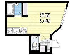 恵比寿ガーデン 1階ワンルームの間取り