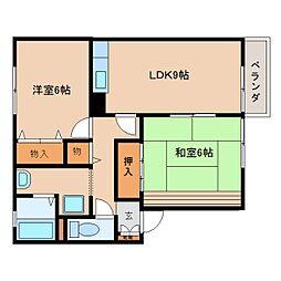 奈良県御所市東松本の賃貸アパートの間取り