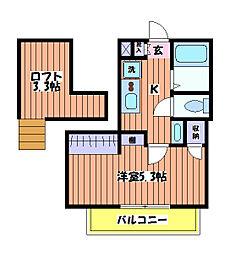 東京都立川市曙町1丁目の賃貸アパートの間取り