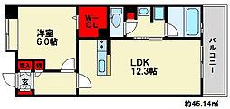 コンフォールB 3階1LDKの間取り