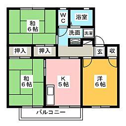 サンシャインサカエ B棟[2階]の間取り