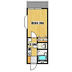 東京メトロ丸ノ内線 南阿佐ヶ谷駅 徒歩14分の賃貸アパート 2階1Kの間取り